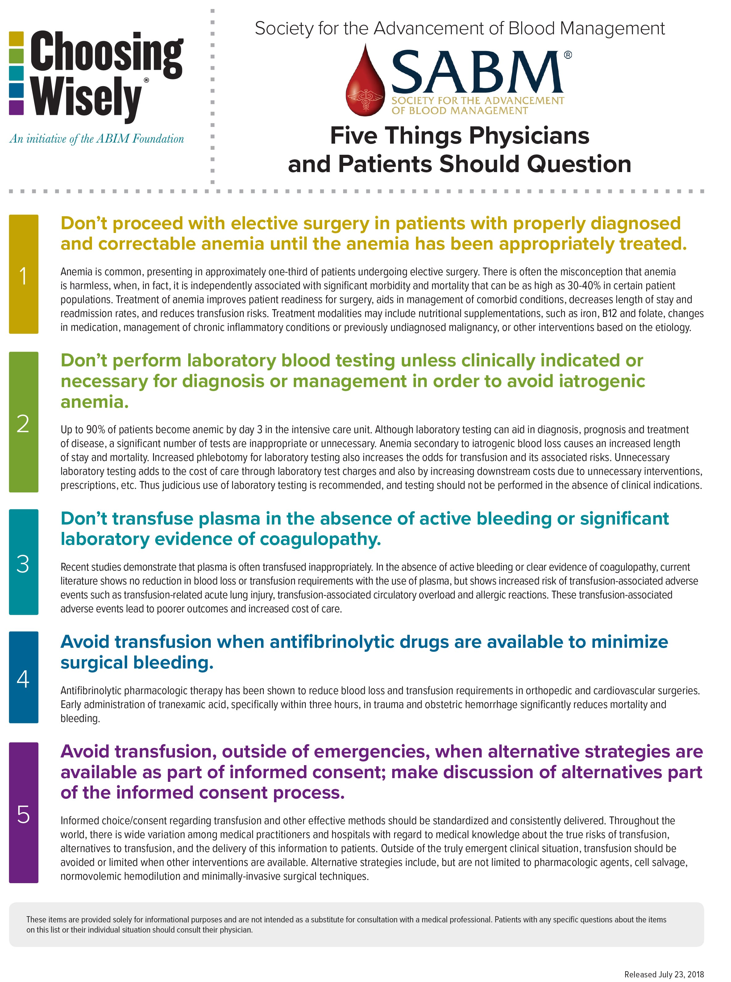 Choosing Wisely(R) Five Things Physicians and Patients Should Question
