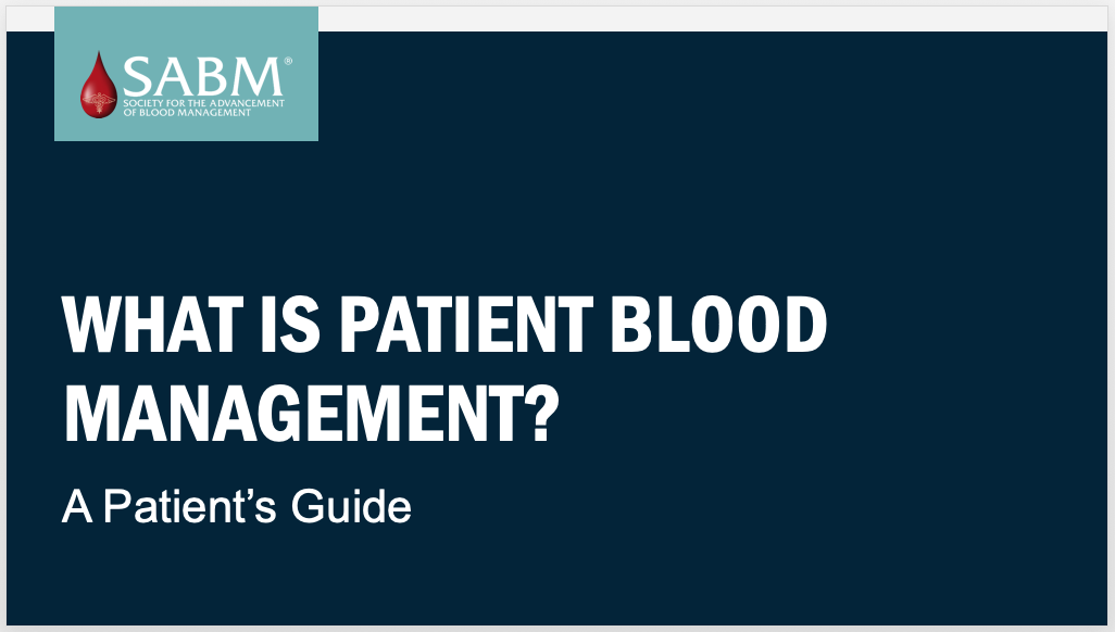 What is Patient Blood Management? A Patient's Guide